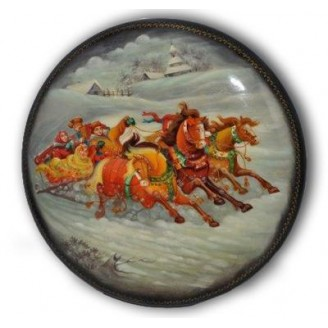 Winter Sleigh Ride - Fedoskino Lacquer Box