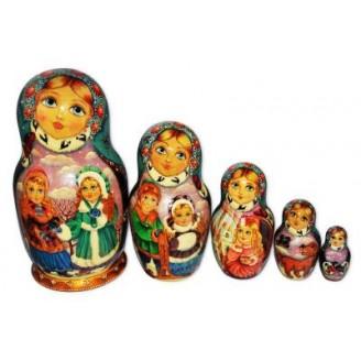 Winter, Children, Christmas Babushka Nesting Dolls