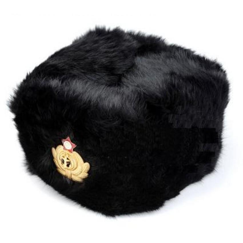 Soviet   USSR   CCCP Navy Officer s Black Winter Fur Hat 56c8e2f7398