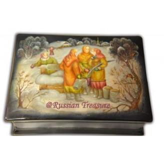 Gossiping - Russian Fedoskino Lacquer Box