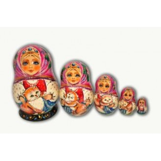 Foxy White Cat - Matryoshka Nesting Dolls