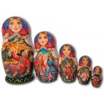 Tsarevich Ivan, the Firebird and the Gray Wolf - Matryoshka Nesting Dolls