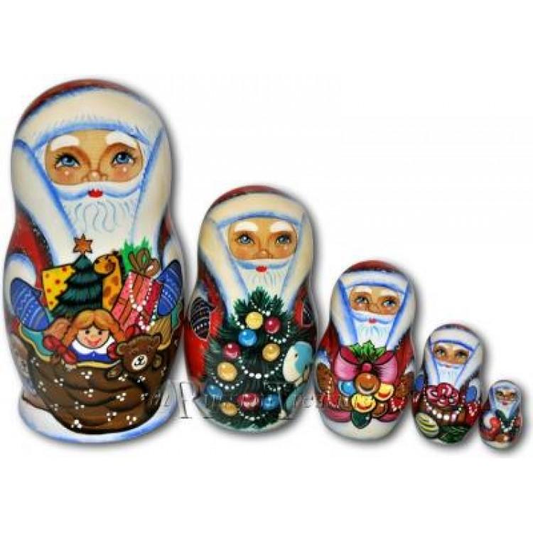 Russian santa matryoshka nesting dolls