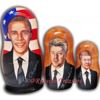 Barack Obama and Democratic Presidents Nesting Dolls