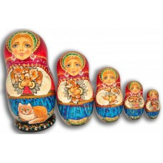 Girl Hugging Cats - Russian Matrioshka