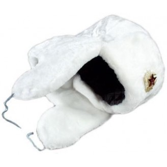 USSR military fur hat - white ushanka