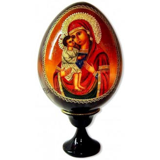 Virgin Mary of Vladimir Icon on Wooden Egg, Artist Evgeniev