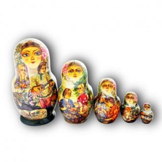 Matryoshka Doll - Village Life by Vera Brysina from Khotkovo Village