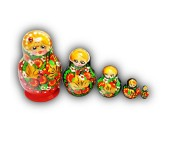 Small Traditional Matyoshka Dolls with Lady Bug
