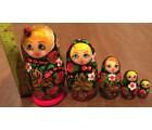 Traditional Matryoshka Nesting Dolls with the Lady Bug