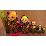 Traditional Matryoshka Nesting Dolls with the Lady Bug