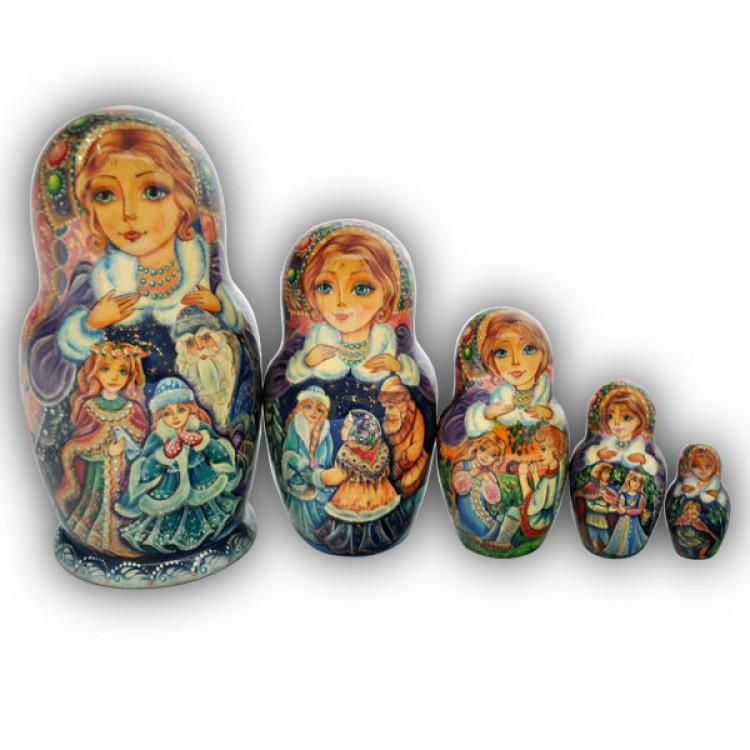 The snow maiden fairytale russian matryoshka nesting dolls