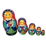 Snowmaiden with the Winter Bunny and Christmas Tree Nesting Dolls