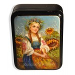 Ukrainian Girl with sunflowers Fedoskino Lacquer Box
