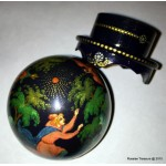 Firebird Fairy Tale Palekh Sphere Lacquer Box by Abramova